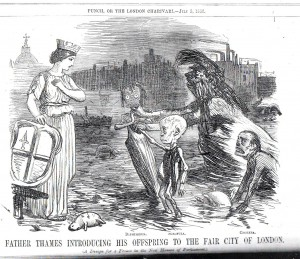 """Father Thames Introducing His Offspring to the Fair City of London"" Punch, or the London Charivari; July 3, 1858; pg. 5"