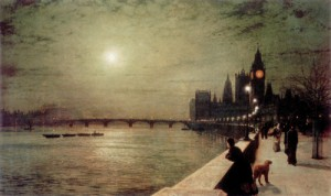 ATKINSON GRIMSHAW John (1836-1894) Reflection on the Thames, Westminster