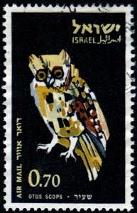 Scops Owl stamp designed by Israeli artist Miriam Karol (1926-1994), Israel, 1963